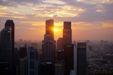 Sunset over Singapore from Marina Bay Sands, Singapore